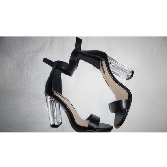 Forever 2 Transparent Block Heel Black